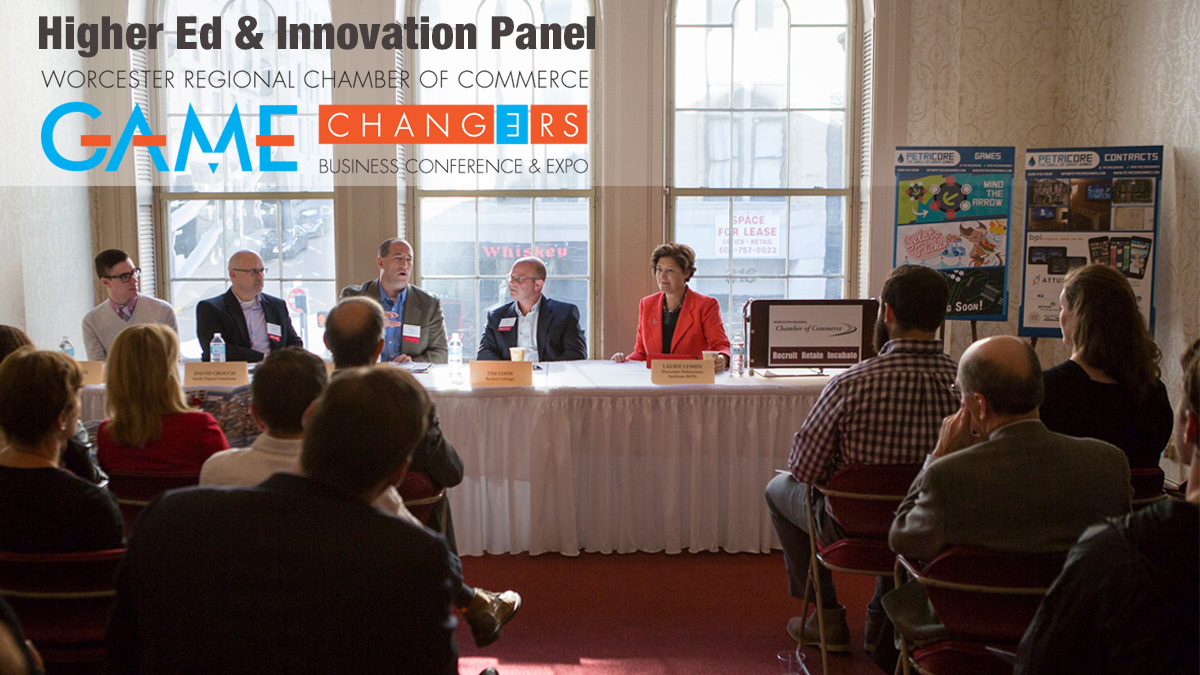 A panel discussion led by WPI president Laurie Leshin