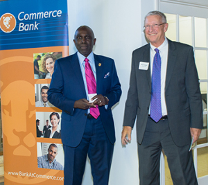 Becker College president Robert Johnson and president of Commerce Bank Brian Thompson at the StartUp Worcester awards event, May 7, 2015.