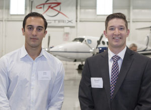John M. Quintela (L) and Russell Mangsen (R) at the Chamber's quarterly Breakfast Club that was held at Rectrix Aviation on June 9, 2016