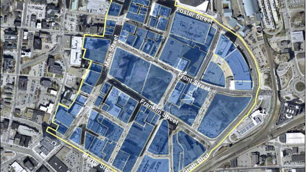 The City of Worcester's Business Improvement District, highlighted in blue, is one of 2,000 across the globe and reflects years of collaboration, planning and development execution. / COURTESY CITY OF WORCESTER