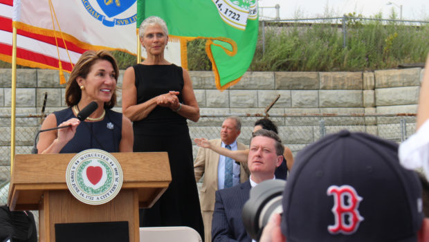 Massachusetts Lt. Gov. Karyn Polito speaks to gathered executives, developers, residents, and fans at the ceremonial groundbreaking of Polar Park Thursday. / PHOTO BY EMILY GOWDEY-BACKUS
