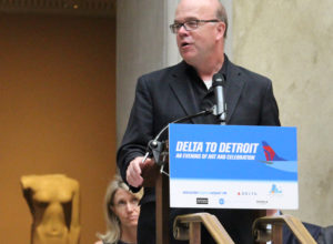 Congressman Jim McGovern addresses fellow regional and state leaders at the Evening of Art and Celebration at Worcester Art Museum in honor of the inaugural Delta Air Lines flight from Worcester Regional Airport to Detroit Metropolitan Wayne County Airport on Friday, Aug. 2. PHOTO BY EMILY GOWDEY-BACKUS.