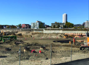 Construction on Polar Park continues in this January 2020 photo as the diamondshaped ballpark takes shape. / PHOTO COURTESY WOO SOX