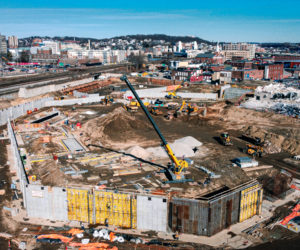 Construction on Polar Park continues in this January 2020 photo as the diamond-shaped ballpark comes into view. / PHOTO COURTESY WOO SOX